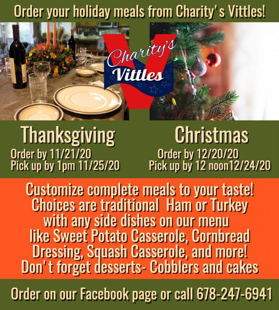 Charity's Vittles Holiday Meals 2020 Promo No. 1