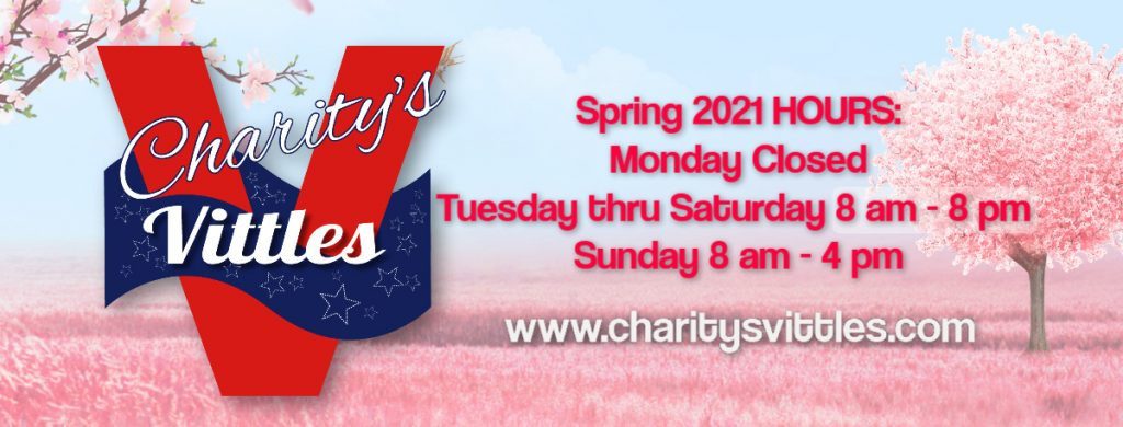 CharitysVittles Spring 2021 hours 8am-8pm