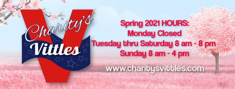 CharitysVittles Spring 2021 hours 8am-8pm